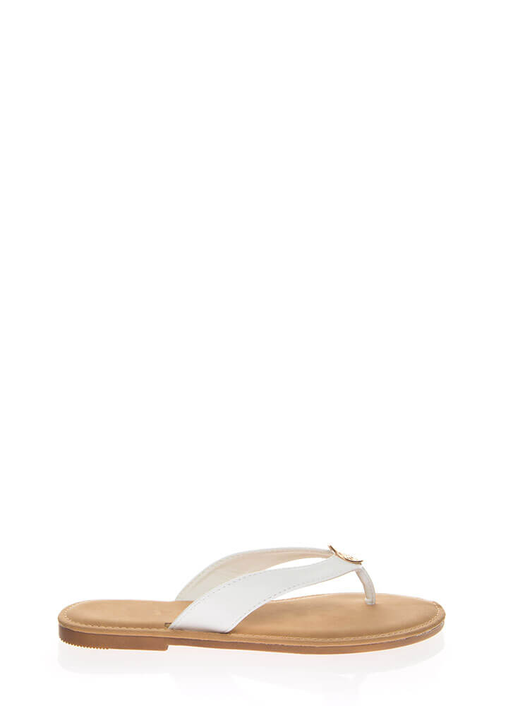 Coin Toss Medallion Charm Thong Sandals WHITE