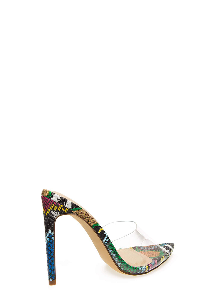 Clearly Sexy Pointy Snake Print Heels MULTI (You Saved $20)