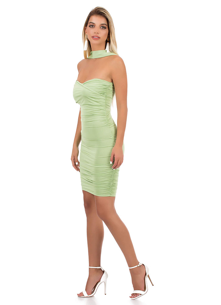 Accessorize Me Ruched Sweetheart Dress LIME