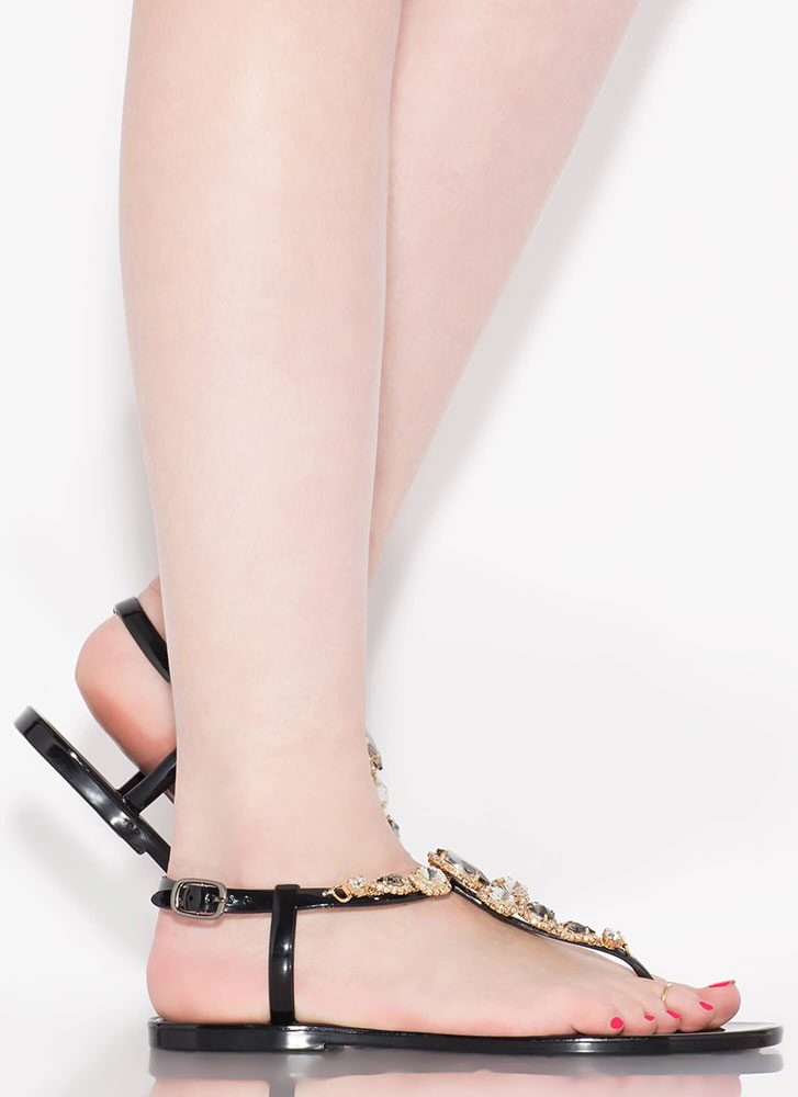Don't Be Jelly Jeweled T-Strap Sandals BLACK