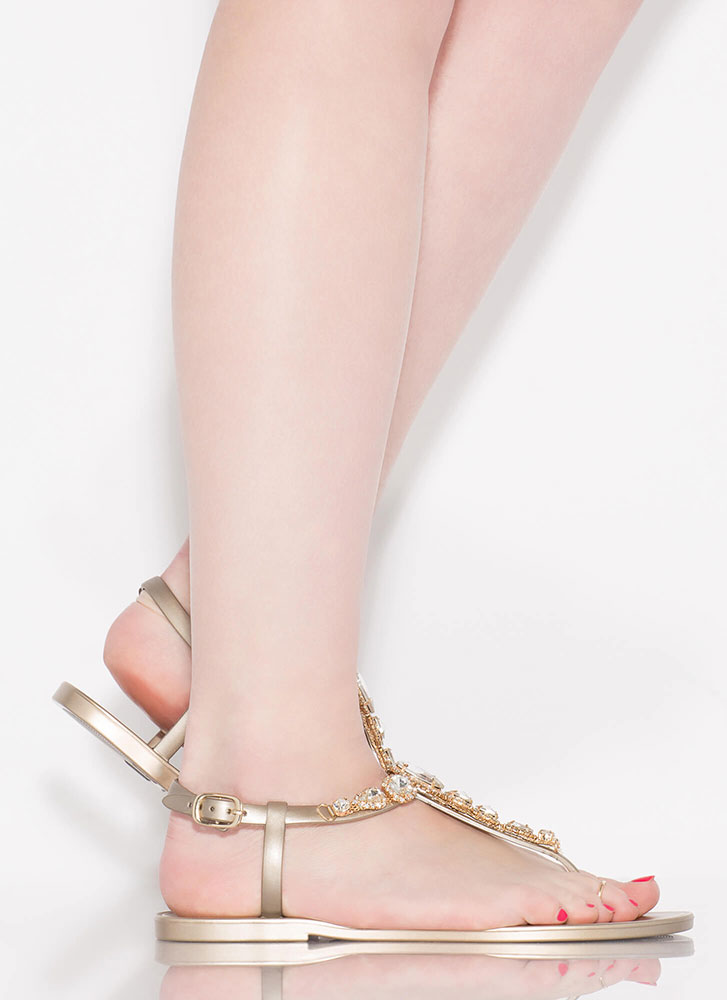 Don't Be Jelly Jeweled T-Strap Sandals GOLD