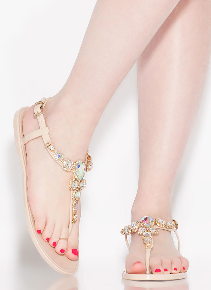 Don't Be Jelly Jeweled T-Strap Sandals NUDE