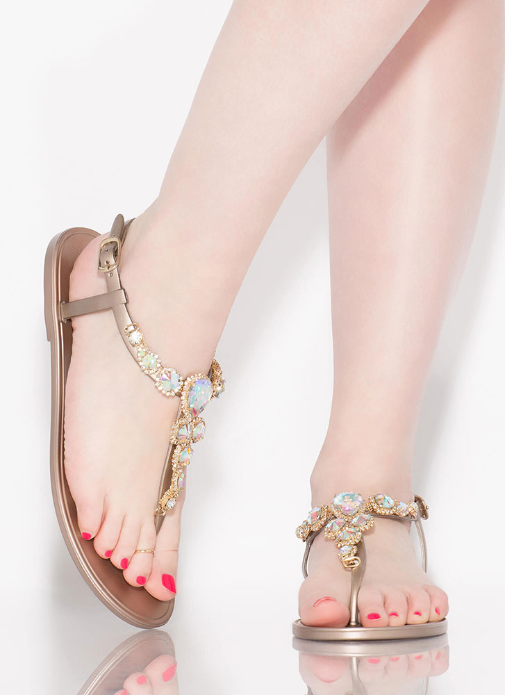 Don't Be Jelly Jeweled T-Strap Sandals ROSEGOLD