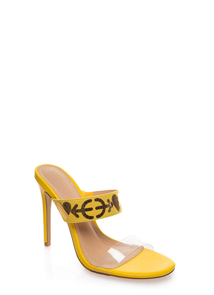 Shot Thru The Heart Clear Strap Heels YELLOW (You Saved $23)