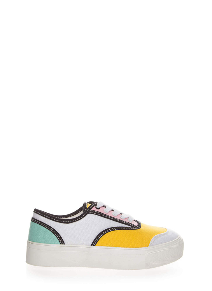 Colorblock Party Platform Sneakers MUSTARD