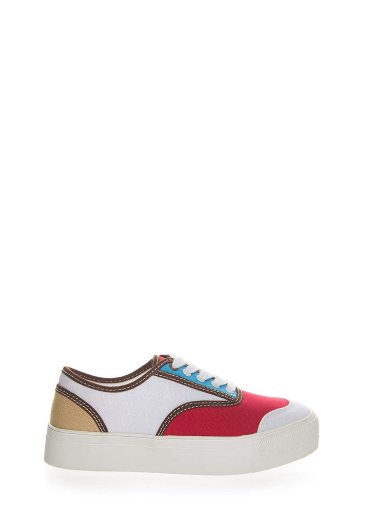 Colorblock Party Platform Sneakers RED