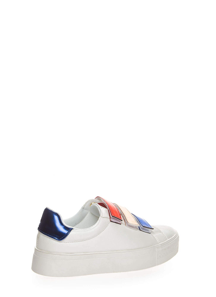 3 Straps You're Out Platform Sneakers BLUE