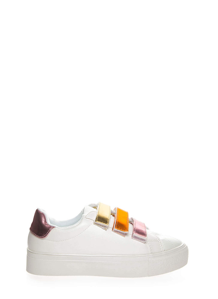 3 Straps You're Out Platform Sneakers ROSEGOLD