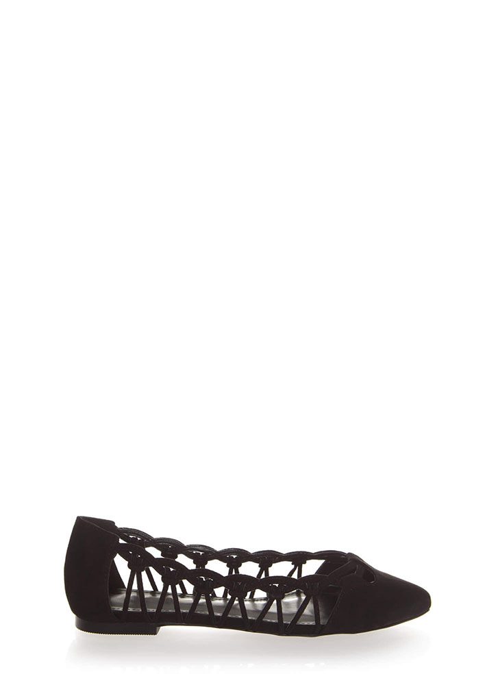 Knot So Fast Strappy Pointy Caged Flats BLACK