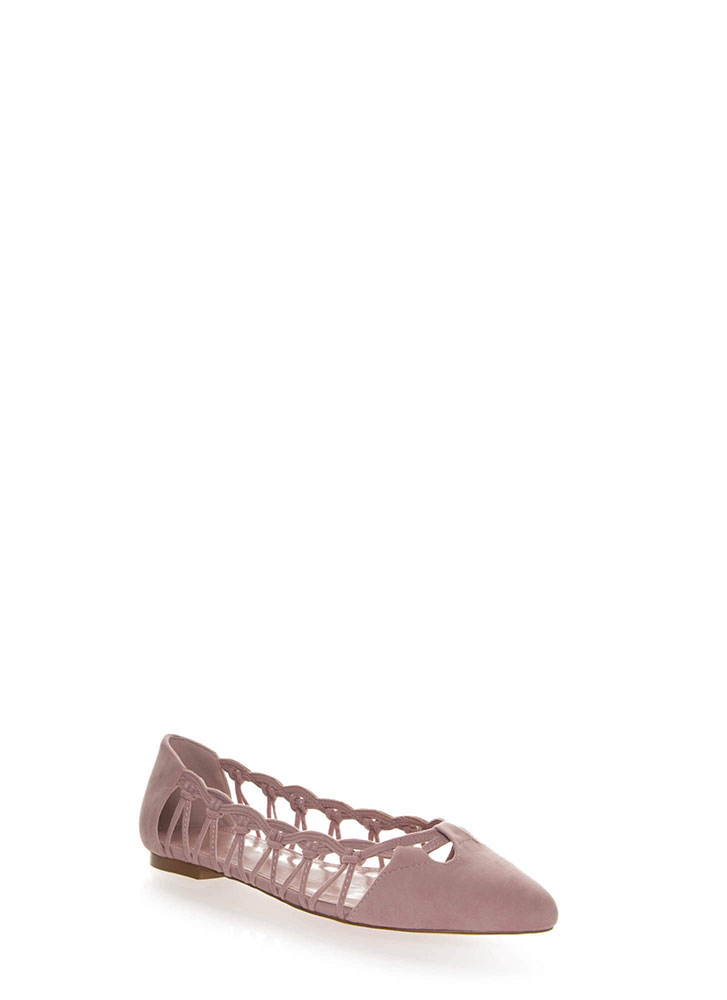 Knot So Fast Strappy Pointy Caged Flats DUSTYPINK
