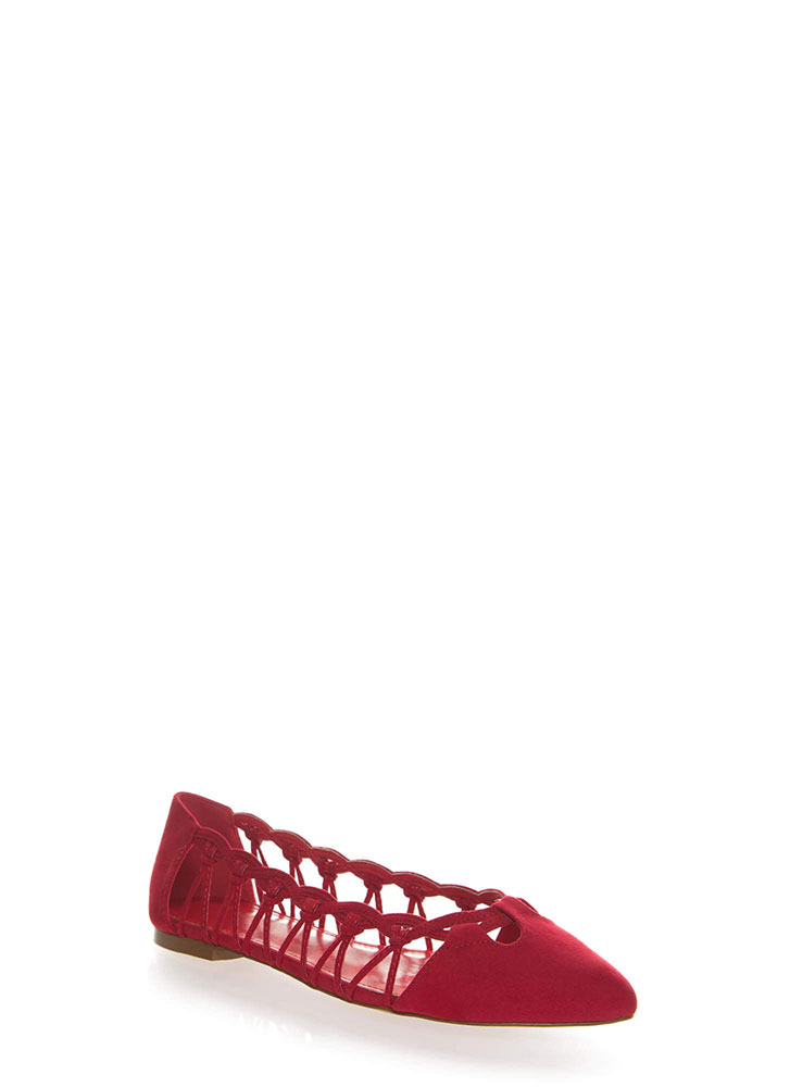 Knot So Fast Strappy Pointy Caged Flats RED