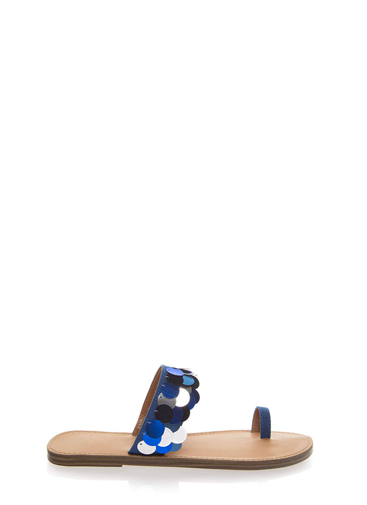 Mermaid On Land Sequined Sandals BLUE (You Saved $18)
