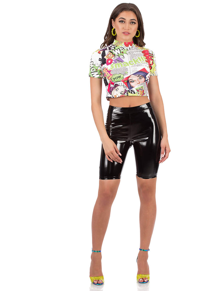 Text Education Comic Print Crop Top WHITEMULTI (You Saved $19)