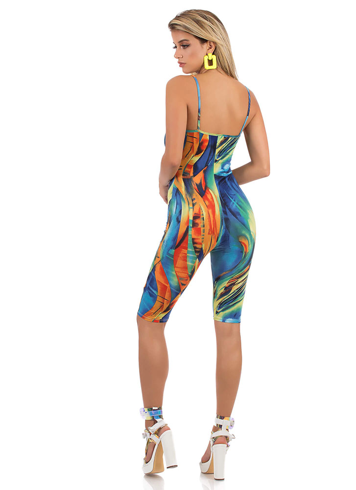 Ride The Wave Abstract Print Romper MULTI