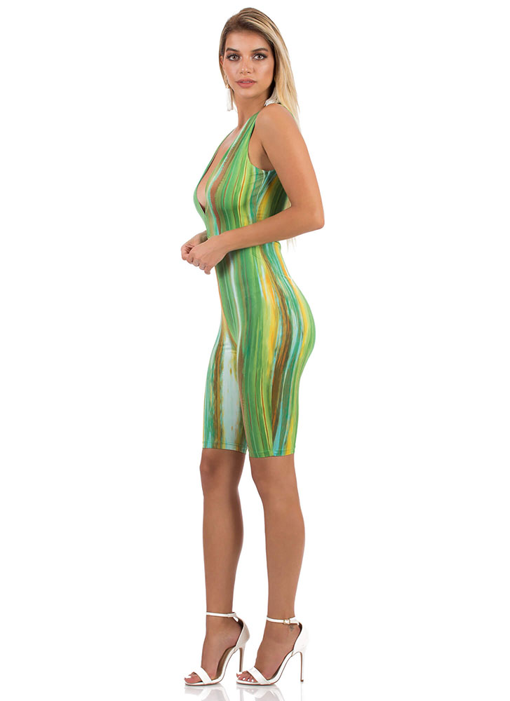 Streak Of Luck Plunging Abstract Romper GREENMULTI