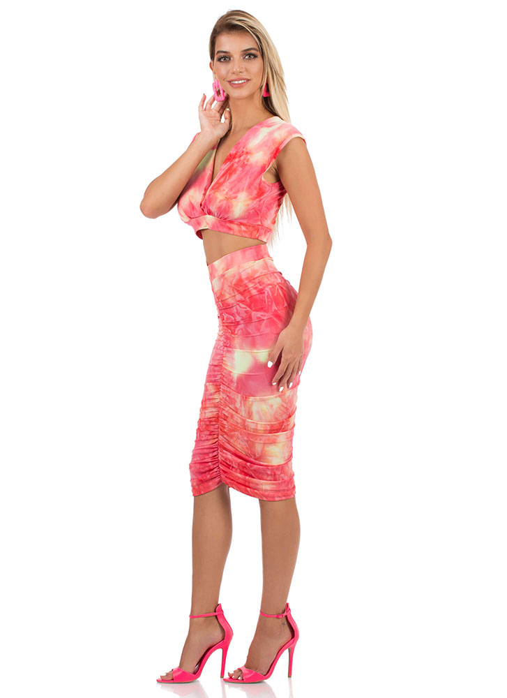 Tie-Dye For You Ruched 2-Piece Dress CORALMULTI