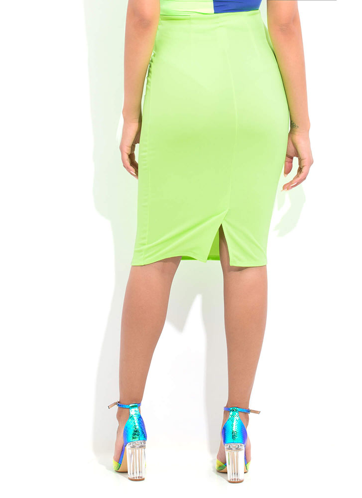 Sharp Curve High-Waisted Pencil Skirt NEONGREEN