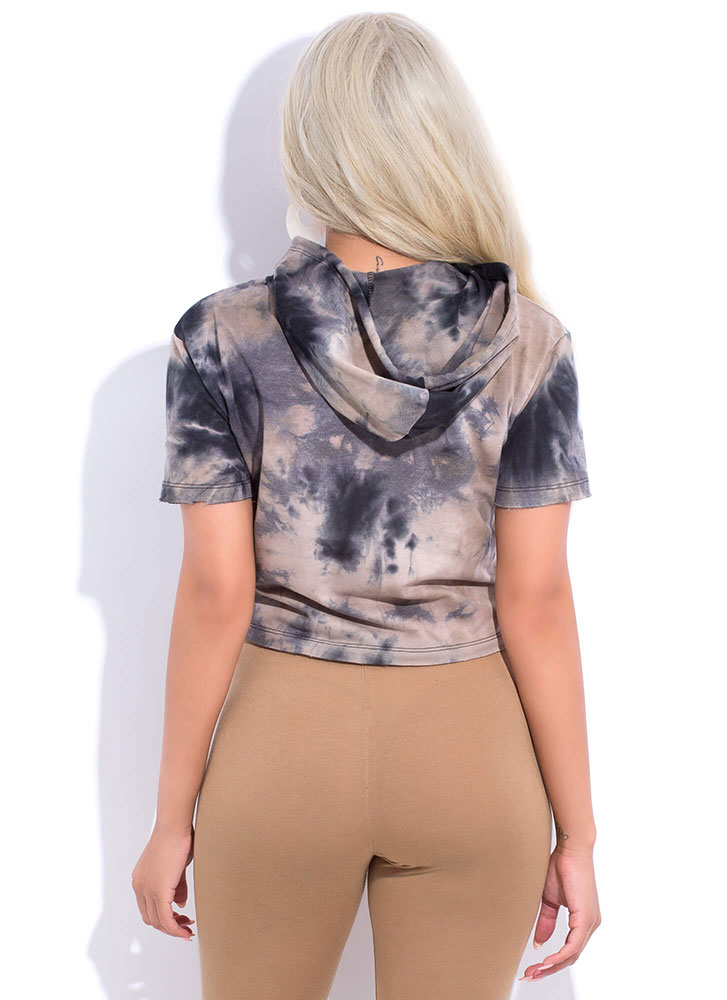 Tie-Dye For Days Cropped Hoodie Top BLACKMULTI