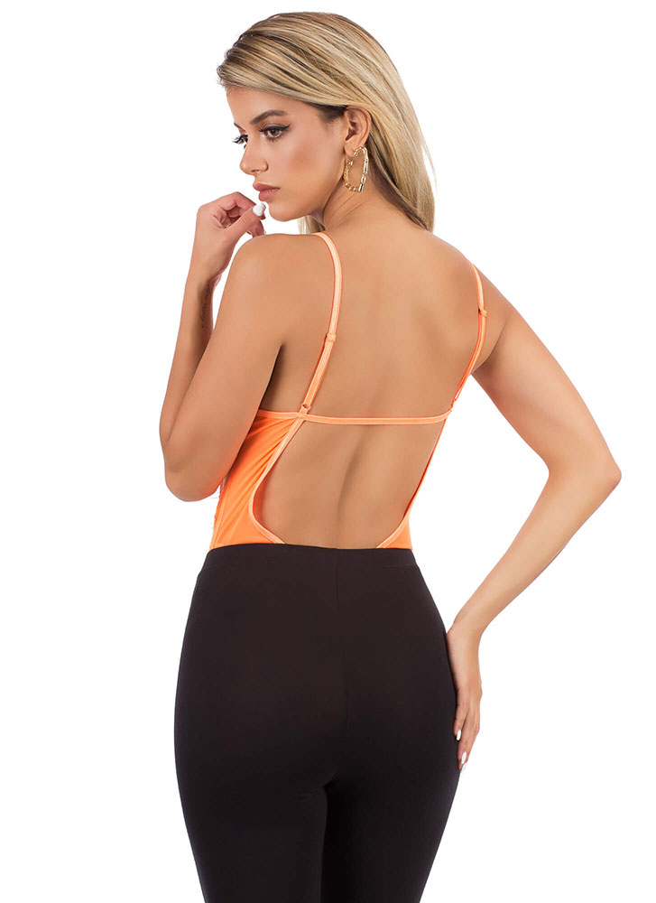 Sheer And Sexy Lace And Mesh Bodysuit NEONORANGE
