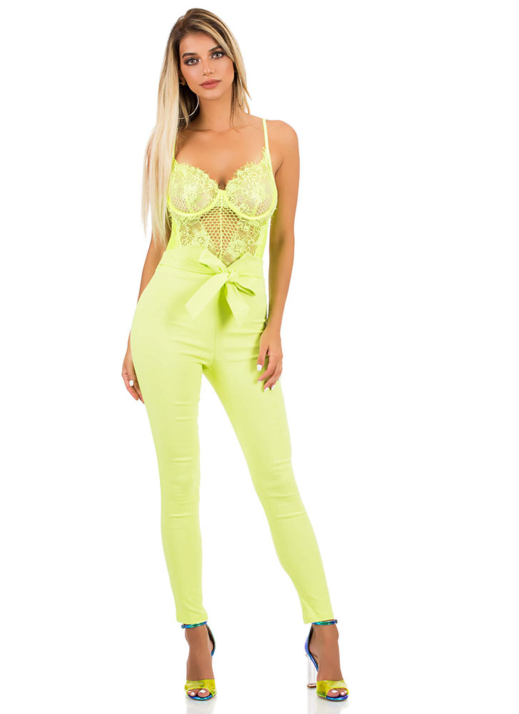 Sheer And Sexy Lace And Mesh Bodysuit NEONYELLOW (You Saved $24)