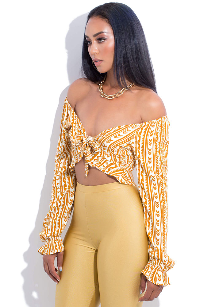 Give It A Tribal Tied Off-Shoulder Top MUSTARD (You Saved $13)