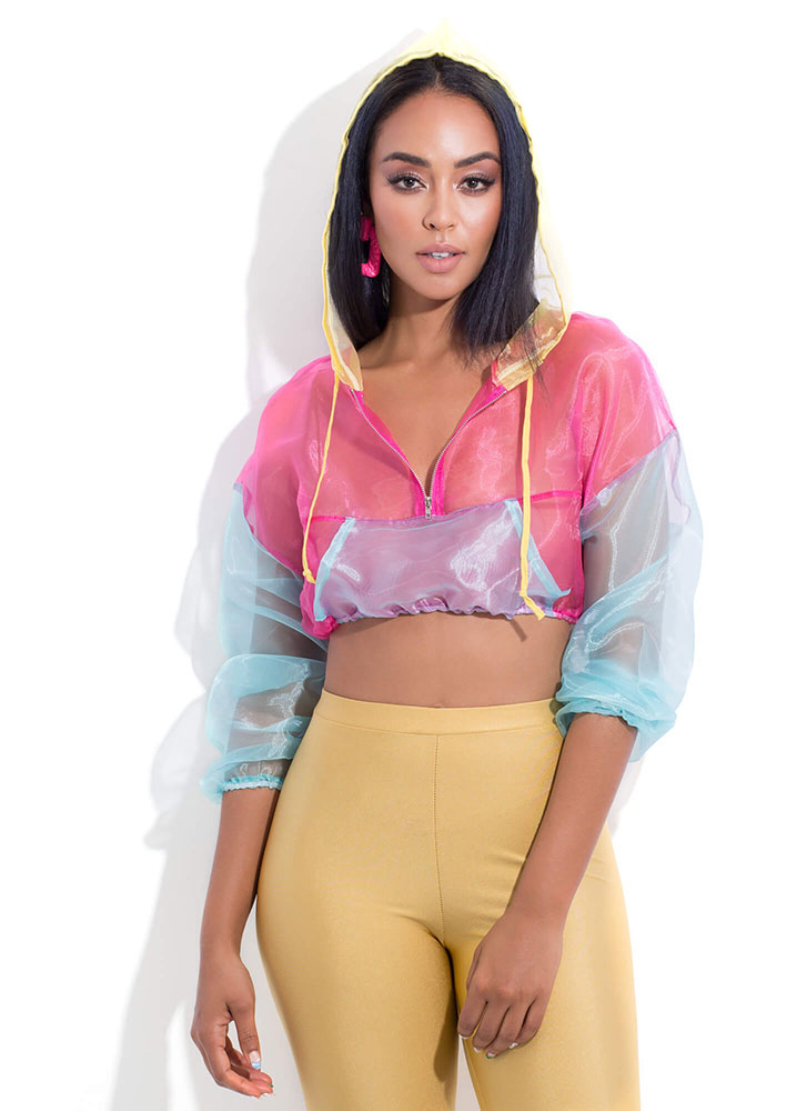 Mesh Around Hooded Colorblock Crop Top MULTI (You Saved $15)