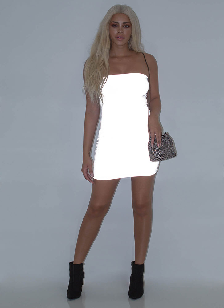 Flash Mob Reflective Tube Minidress SILVER
