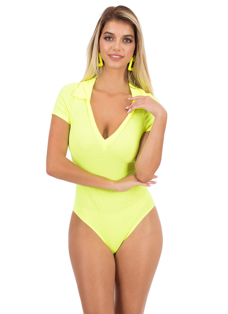 Collar At Me Rib Knit Bodysuit NEONYELLOW