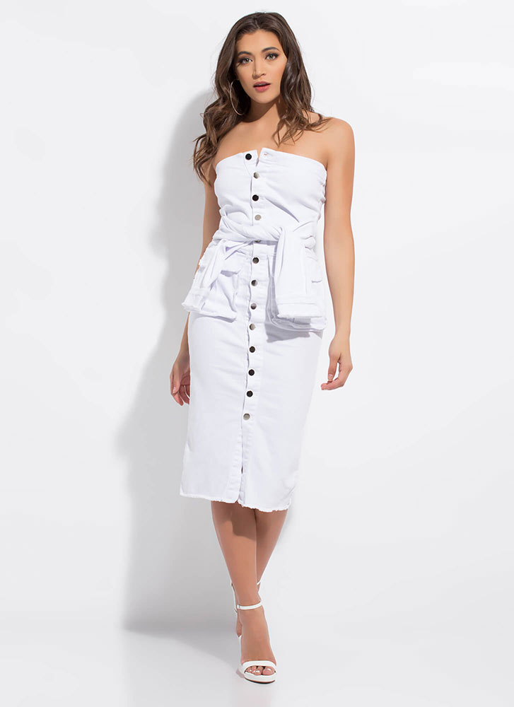 Give It A Tie Denim Button-Up Tube Dress WHITE