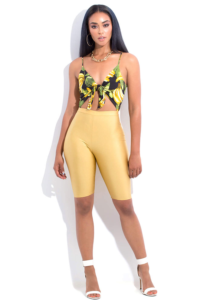 It's Bananas Knotted Tropical Bodysuit BLACK (You Saved $15)