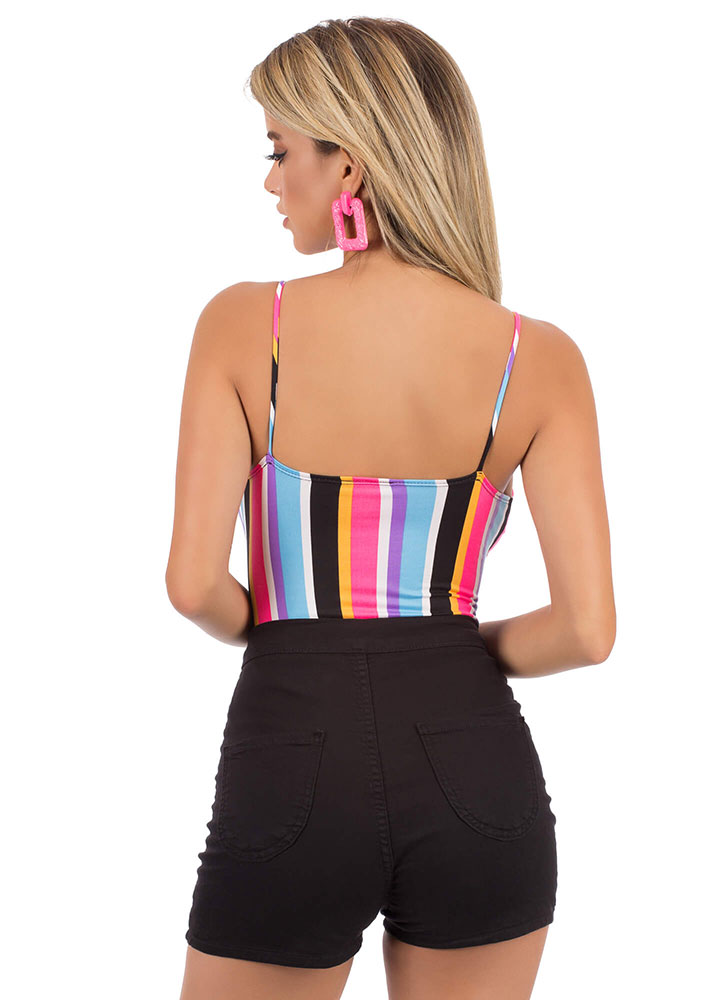 Seeing Stripes Knotted Cut-Out Bodysuit MULTI (You Saved $15)