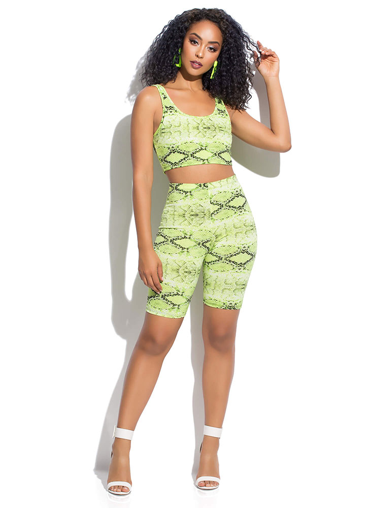 Sly Like A Snake Top And Shorts Set NEONGREEN