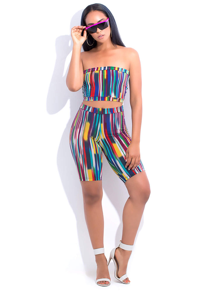 Lucky Streak Striped Top And Shorts Set PINKMULTI