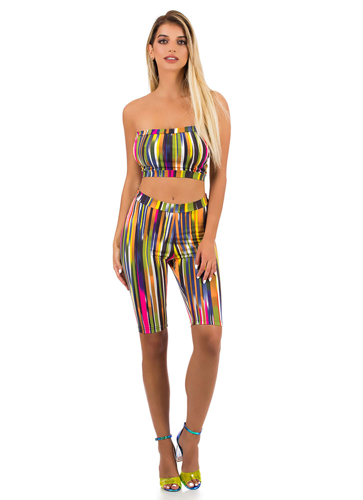 Lucky Streak Striped Top And Shorts Set YELLOWMULTI