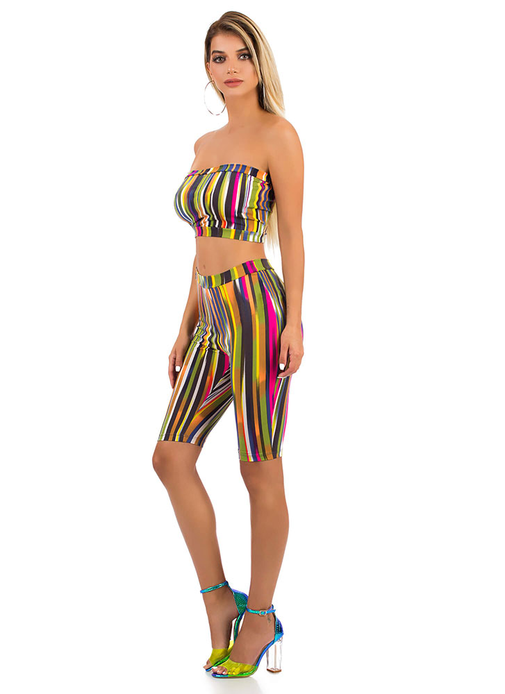 Lucky Streak Striped Top And Shorts Set YELLOWMULTI (You Saved $23)