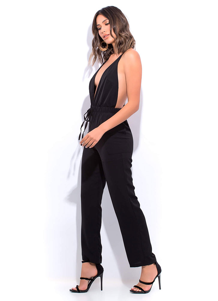 About Face Plunging Open-Back Jumpsuit BLACK
