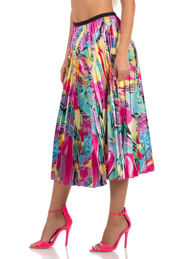 Paint Is Beauty Pleated Tea-Length Skirt MULTI (You Saved $28)