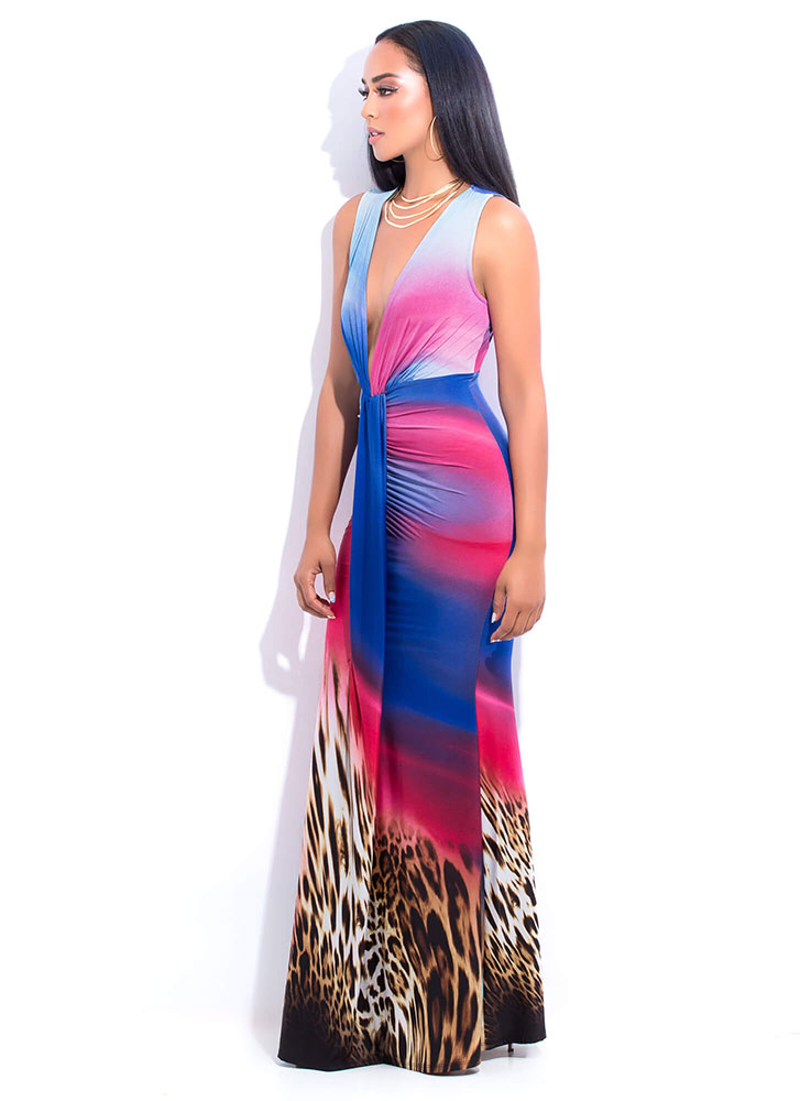 Leopard Sunset Plunging Draped Gown BLUEMULTI
