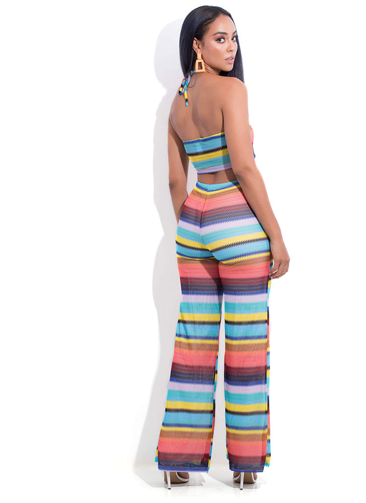 Serious Stripes Halter Top And Pant Set YELLOWMULTI (You Saved $18)