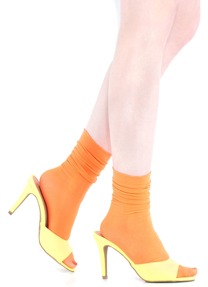 A Little Something Frilly Crew Socks NEONORANGE (You Saved $4)