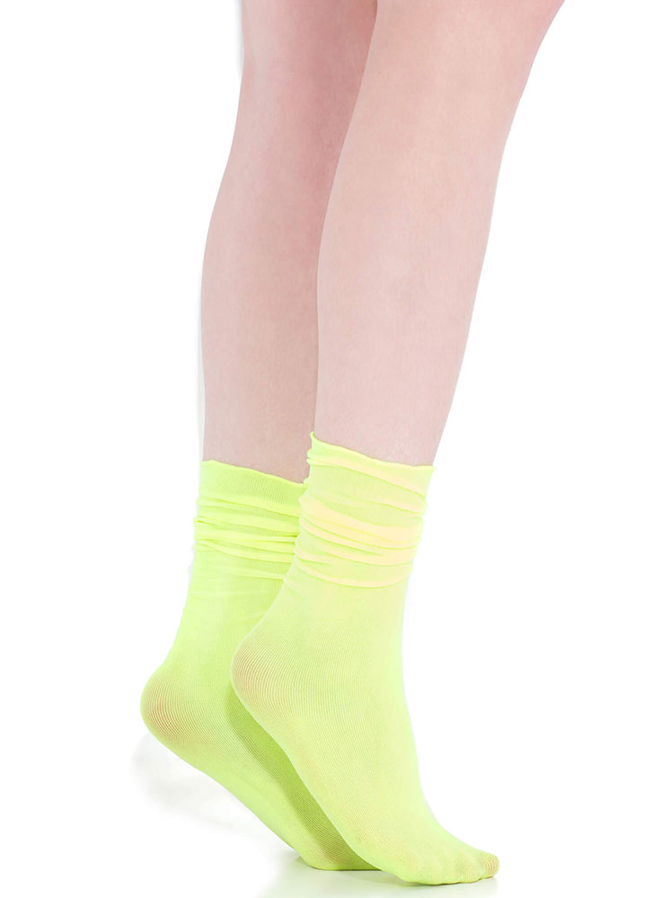 A Little Something Frilly Crew Socks NEONYELLOW (You Saved $4)