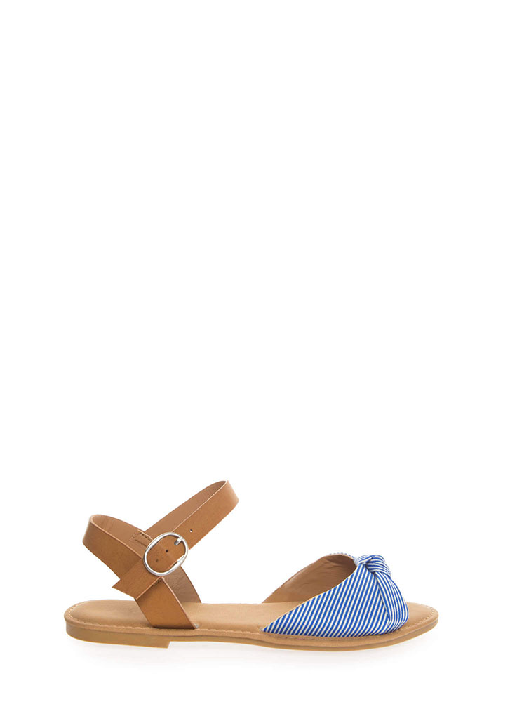 Coastline Knotted Pinstriped Sandals BLUESTRIPE (You Saved $12)
