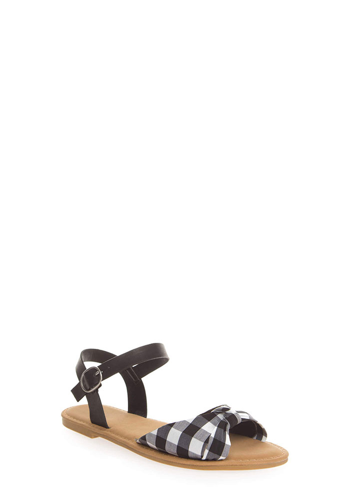 Coastline Knotted Gingham Sandals BLACK