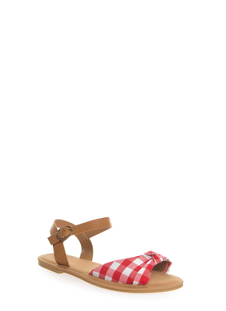 Coastline Knotted Gingham Sandals RED
