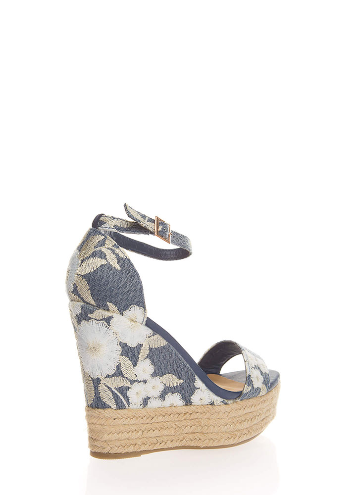 Floral Aroma Embroidered Braided Wedges BLUEMULTI