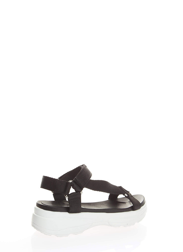 Sporty Touch Strappy Platform Sandals BLACK