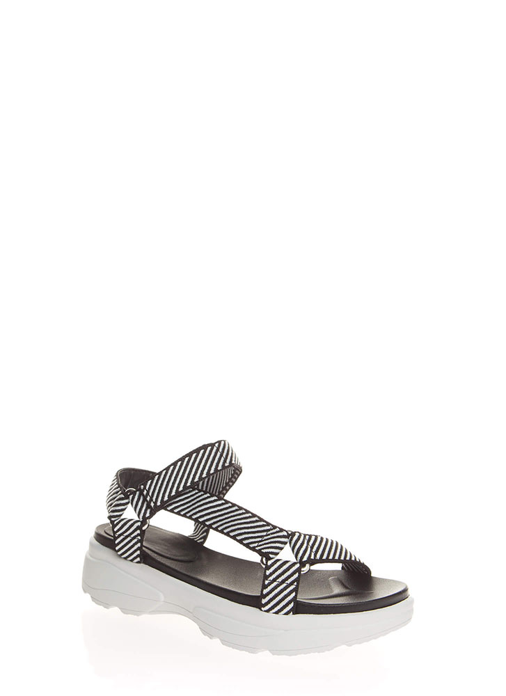 Sporty Touch Strappy Platform Sandals BLACKWHITE