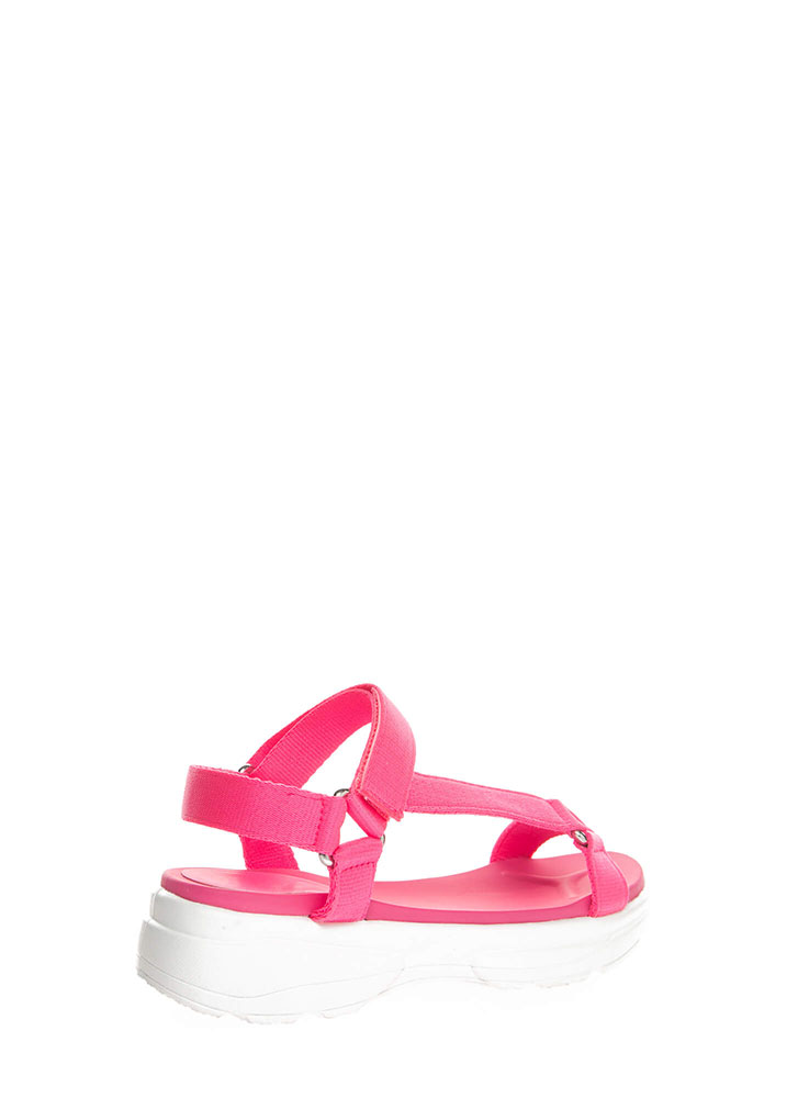 Sporty Touch Strappy Platform Sandals NPINKWHITE