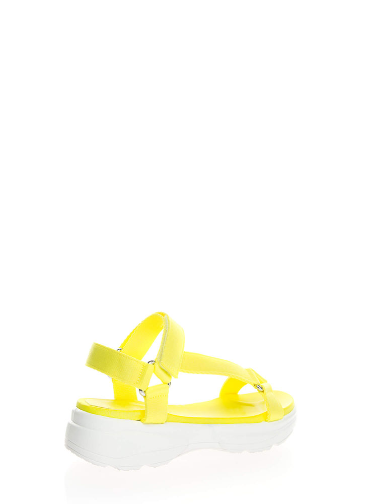 Sporty Touch Strappy Platform Sandals NYELLOWWHITE