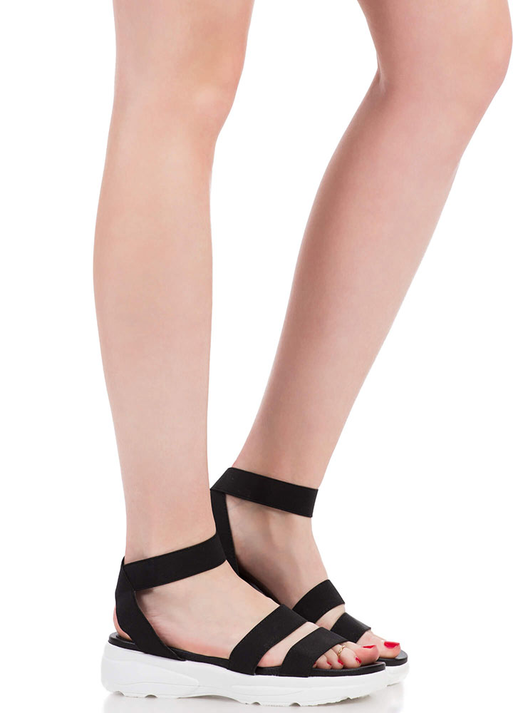 Morning Stretch Strappy Banded Sandals BLACK